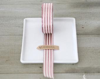 "Pink and White Stripe Metallic Stripe Ribbon 7/8"""