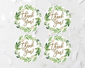 Greenery Thank You Favor Labels Printable Leafy Green Favor Tags Greenery Wreath Favor Stickers Bridal Shower Decoration Baby Shower 276