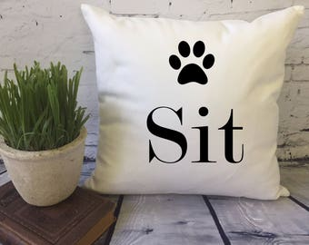sit dog throw pillow, decorative pillow, funny throw pillow