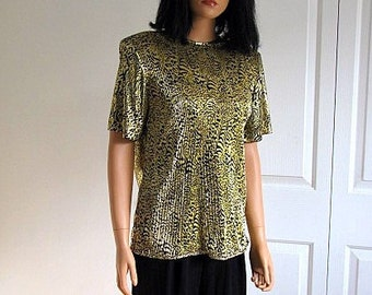 Vintage 80s Pleated Top | Gold and Black | Animal Print | Accordion Pleated | Short Sleeves |  Heritage Road | Small | Shiny Glitz