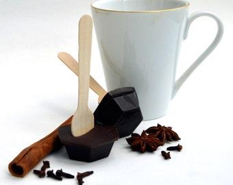 Hot Chocolate Stirrer Spoon, Spicy Cinnamon Chocolate on a Spoon, Chocolate Dipper, Winter Warmer Chilli Chocolate Gift