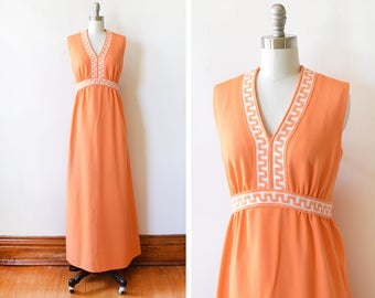 70s orange maxi dress, vintage 1970s grecian maxi dress, Greek key disco dress, medium m