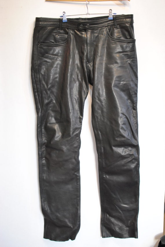 pants big size 085 Vintage men's leather biker LEATHER PANTS leather pants AqwU7Yz
