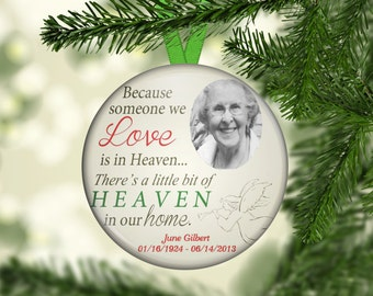 In Memory Memorial Ornaments, Custom Personalized Photo Christmas Ornament, One of a Kind, Personalized, Loved one,  OR1006