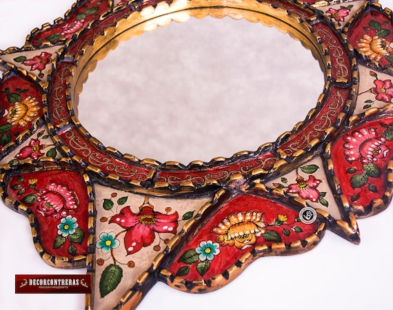 Painting on glass Hanging Wall Mirror from Peru,Delightful Red Peruvian Wall Accent Mirror for home Decorative Round Mirror wall 25.6in