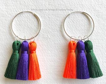 Like a RainBow | Silky Tassel Earrings | Sterling Silver Hoop Earrings