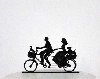 Wedding Cake Topper - Family Wedding on Tandem Bike