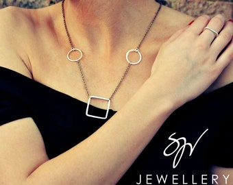 Sterling Silver Handmade Geometric Necklace - The Savannah Collection