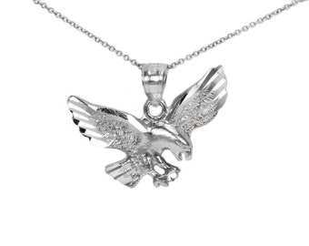 14k White Gold Pendant for Pendant Necklace, 14k Gold Eagle Charm for Charm Necklace, Animal Jewelry Gold Birthday Gift, Eagle Necklace