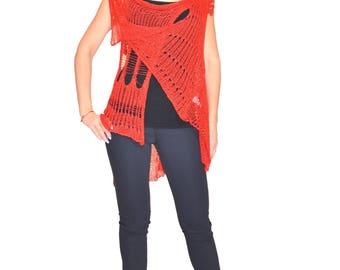 Crochet Open Weave Vest