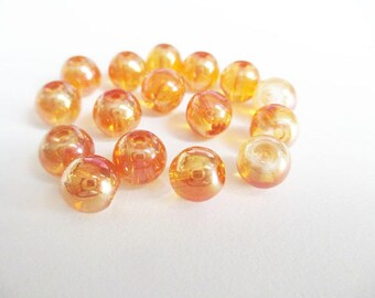 10 dark orange beads iridescent shiny glass 8mm