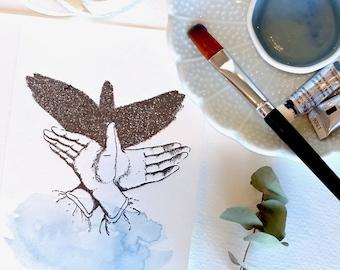 Toute occasion carte, oiseau, peint à la main, typographie, bel animal, marionnette à la main, carte de voeux de luxe, Carte Aquarelle peint à la main