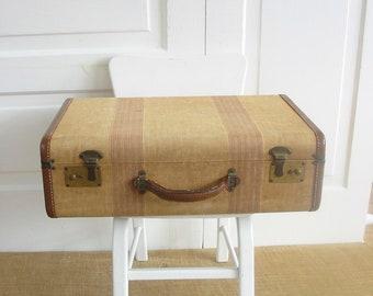 Vintage Tan Suitcase, Striped Suitcase, Brown Case, Vintage Luggage, Industrial Storage, Antique Suitcase, Striped Case, Suitcase