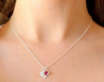 Necklace in 925 Silver with a heart pendant and beads