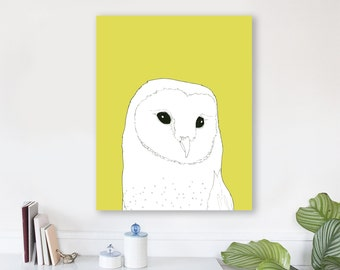large modern wall art on canvas, minimalist fine art, colorful modern wall art, prints, owl wall art canvas, woodland nursery art - Barn Owl