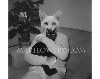 Cat in Clothes Anthropomorphic Black and White Collage Art Print, 7x7 on 8.5 x 11 Paper, Weird Wall Art, frighten