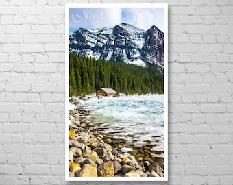 Thin wall art, Lake Louise stretched canvas, rocky mountains, framed narrow wall decor, banff park, ready to hang photography, Alberta art