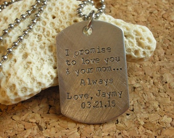 Wedding Gift for Stepson-Stepson Gift from Bride-Stepson Gift from Groom-Blended Family Gift-Dogtags for Wedding-Personalized Dog Tag