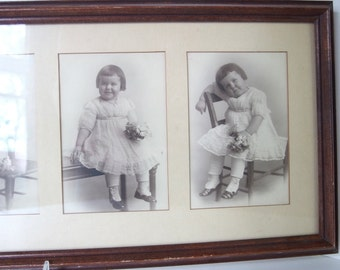 5 Vintage Pictures Little Girl with Flowers Pictures - Instant Ancestor in Collage Frame