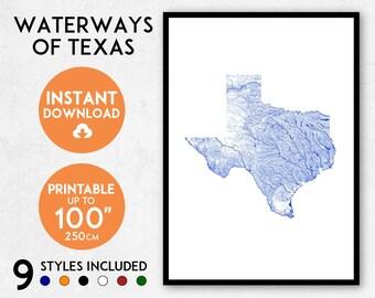 Texas map art, Printable Texas print, Texas map print, Texas art, Texas poster, Texas wall art, Texas gift, Texas wall art, Map of Texas