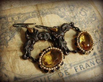gRandiose vintage assemblage earrings featuring antique necklace links LARGE topaz jewels enamal setting framed with tiny seed pearls