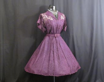 Vintage 1950's 50s Purple Lace Party Prom Wedding DRESS Gown XL Plus Size