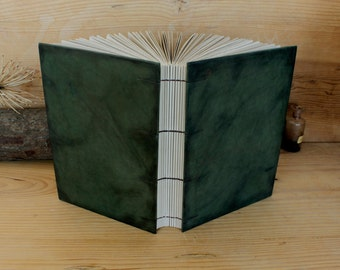 "Leather Photo Album / Scrapbook, Green Antiqued Leather - ""Old Memories"""