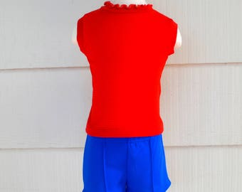 Vintage Girl's Shorts and Top Set, Health Tex Red Sleeveless Top with Blue Glen Bay Shorts, Size 3T, Summer Outfit, 1970s