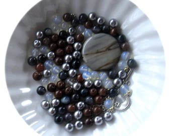 Silver Leaf Jasper, Aventurine, Opalite,  Glass, Bead Combo, DIY Jewelry Kit, Bead Kit, Jewelry Making Beads, Necklace Design