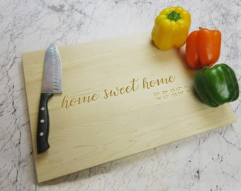 Personalized Cutting Board - Wood Cutting Board - Housewarming Gift, First Home Gift - New home Gift - Home Sweet Home - Kitchen Decor