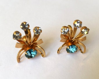 Vintage B.N. Bugbee & Niles Ice Blue and Clear Rhinestone Gold Tones Screw Back Earrings Signed