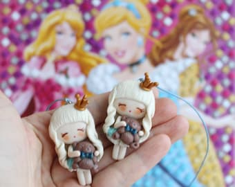 Necklace princess, clay doll necklace, Polymer clay doll, Handmade doll, Collecting doll, sculpted clay doll, miniature doll