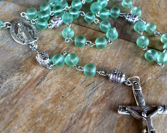 Rosary, handmade with frosted glass beads and tibetan silver crucifix and station