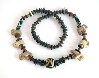 Vintage African Jewelry, Beaded Necklace, Carved Soapstone Elephants, Brown Seed Pods, Batik Bone Bead, Rustic Pottery Beads, Boho Fashion