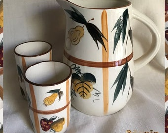 1950'S 60'S Nasco Pottery Juice Pitcher with 2 Tumblers