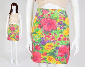 90s Watercolor Floral Skirt | size Medium | Cotton Tight Fitted Body Con Mini Skirt Colorful Painterly Flowers Pink Green | M 10