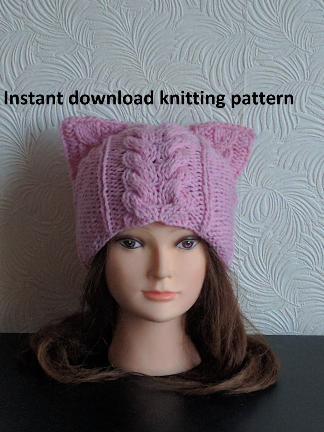 Instant Download knitting pattern Cat ear hat knitting