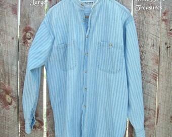 Blue Stripe Denim Shirt Large ~ Cotton Mandarin Collar Long Sleeves ~ Unisex Denim Shirt ~ Boho Retro Shirt ~ Button Breast Pockets