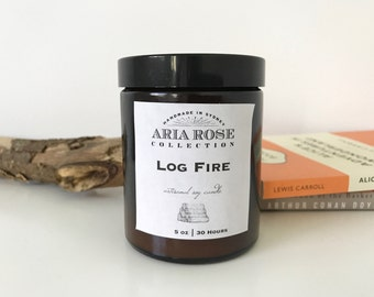 Log Fire Scented Soy Candle - 5 oz