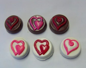 6 Hearts & Chocolate Valentine Motif Candy Covered Oreos-Perfect for Saying I Love You! Make Wonderful Engagement Party/Wedding Favors!
