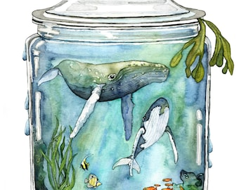 "Watercolor Painting, Whale Painting, Whale in Bottle, Ocean Painting, Whale Art, Watercolor Print, Sea, Print titled, ""Containing the Sea"""