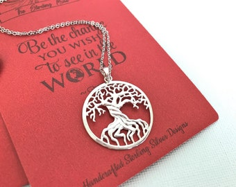 Sterling Silver Tree of Life Necklace Pendant+Science+Biology+Dendrology Gift+Symbol Charm+Symbolic Jewelry+Teacher Gift+Graduation Gift