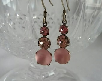 Pink Earrings - Pink Sparkle Earrings - Bridesmaid Earrings  - Pink Bridesmaid Gifts - Pink Drop Earrings -Gifts for Girlfriends - For Wives