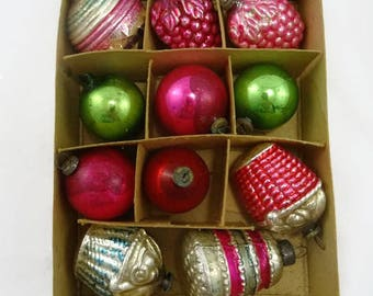 Vintage Lot of 11 Feather Tree Christmas Ornaments Figural Baskets Grapes Box
