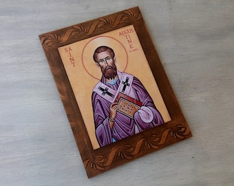 Saint Augustine,St Augustine of Hippo,Christian Saint, Christian Theologian,Bishop of Hippo,Handmade Art,Handcrafted Icon