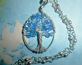 Tree of Life, Crystal Blue, Sterling Silver