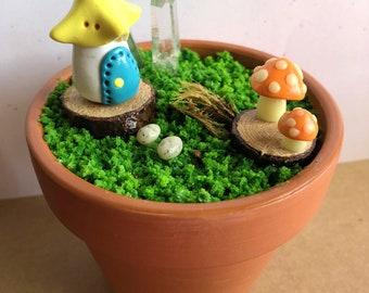 Fairy Gnome Dwelling Glow in the Dark Polymer Clay Miniature Toadstool Mushroom Art Terrarium - Handmade Home Decor w/ Real Quartz Crystals