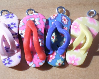 Flip Flop Charms, Set of 4, Shoe Charms, Summer Charms, Charm Findings, Jewelry Findings