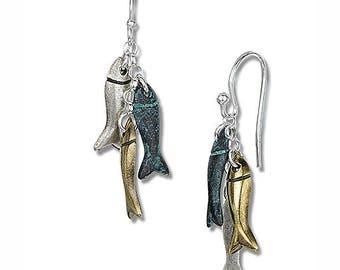 Sterling Silver Hooked Fish Earrings Bronze Copper Silver Dangly Drop Sardine Earrings
