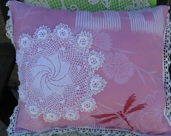 Cottage Chic Boudoir Pillow~Sweet Handcrafted Pillow Vintage Upcycleled Dresser Scarf~Kimono Textile ~ Doily~Romantic Pillow~Handmade Pillow